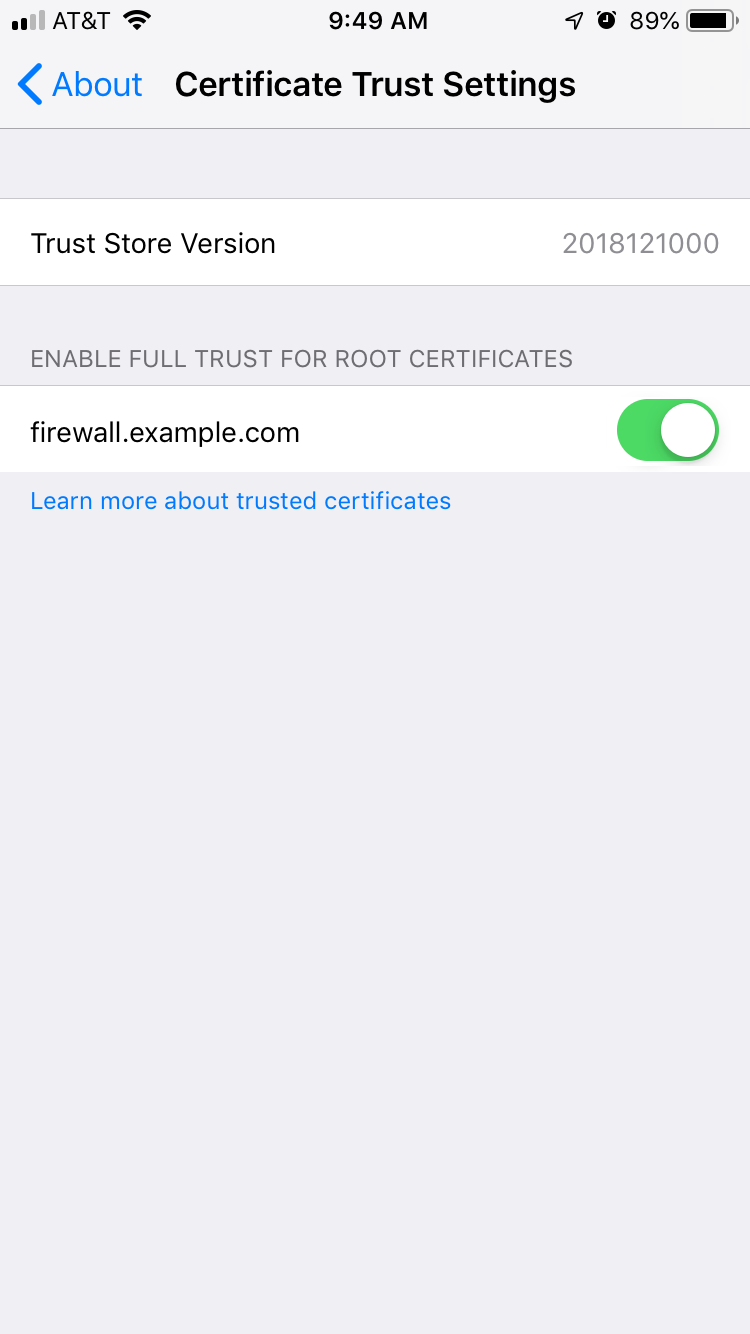 Installing an Untangle root certificate on Apple iOS