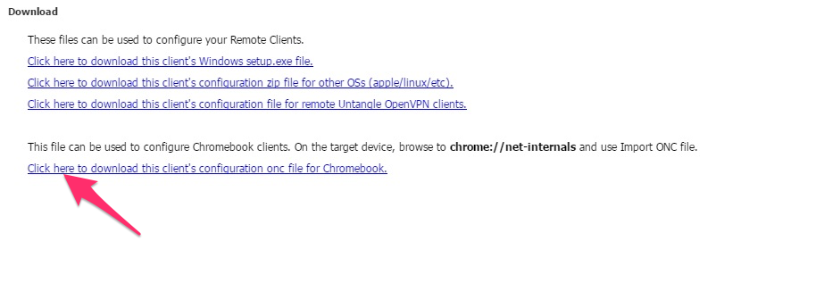 Deploy the OpenVPN client to a Chromebook – Untangle Support