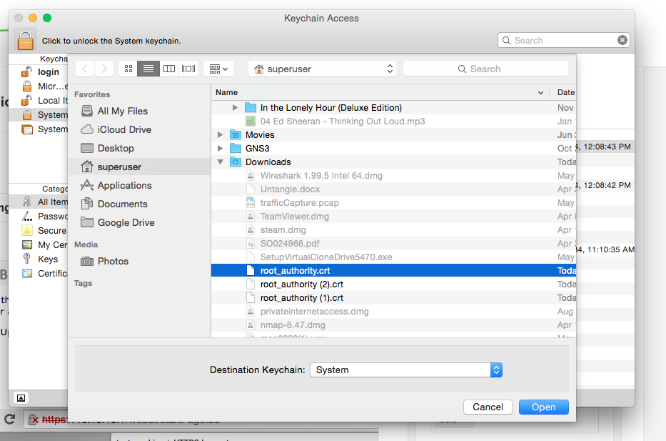 Manually installing root certificate on Mac OSX – Untangle Support